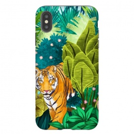 iPhone Xs Max  Jungle Tiger by Uma Prabhakar Gokhale (watercolor, jungle, forest, tiger, wild animal, wilderness, nature, botanical, wild, cat, animal, tropical, india)