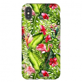 iPhone Xs Max  Flower Jungle and Flamingo  by Utart