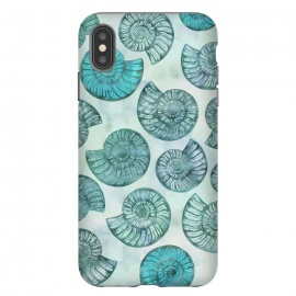 iPhone Xs Max  Teal Fossils And Ammonites by Andrea Haase