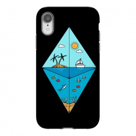 iPhone Xr  Diamond Landscape Black by Coffee Man (landscape, nature, marine, beach, sea,ocean,summer,vacation,spring break,diamond,geometric,sun, sunset,fish,shark)