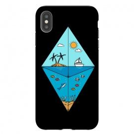 iPhone Xs Max  Diamond Landscape Black by  (landscape, nature, marine, beach, sea,ocean,summer,vacation,spring break,diamond,geometric,sun, sunset,fish,shark)