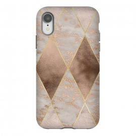 iPhone Xr  Marble Rose Gold Argyle Pattern by Utart