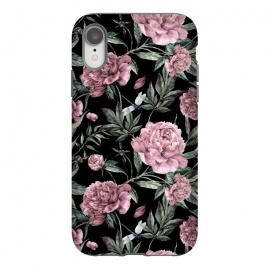 iPhone Xr  Black and Pink Peony Pattern by