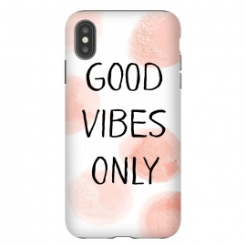 iPhone Xs Max  Good Vibes Only - Rose Gold Polka Dots by Utart