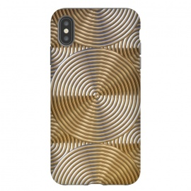 iPhone Xs Max  Shiny Golden Metal Embossed Circles by