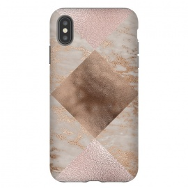 iPhone Xs Max  Rose Gold and Marble Quadrangle Pattern by Utart