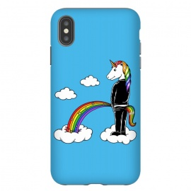 iPhone Xs Max  Unicorn Rainbow Blue by Coffee Man (unicorn, unicorns,magic,rainbow,colorful,cloud,fun,funny,humor,fary tale,punk,kid,kids,children,sky,horse, animal, animals,pet,pets)