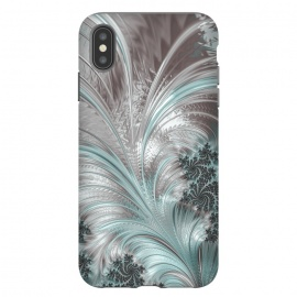 iPhone Xs Max  Floral Fractal Teal Silver by Andrea Haase