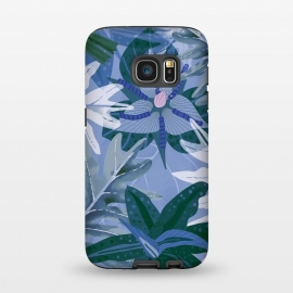 Galaxy S7  Blue Purple Aloha Tropical Jungle  by Utart