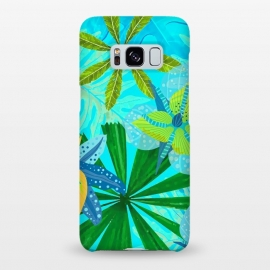 Galaxy S8+  Watercolor Abstract Teal and Blue Aloha tropical Jungle by Utart