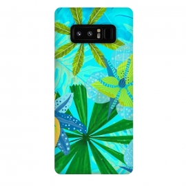 Galaxy Note 8  Watercolor Abstract Teal and Blue Aloha tropical Jungle by Utart