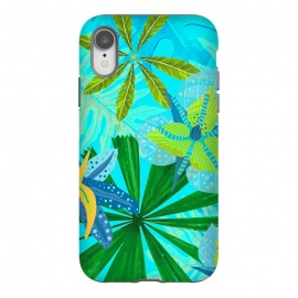 Watercolor Abstract Teal and Blue Aloha tropical Jungle by Utart