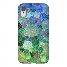 iPhone Xr  Green and Blue Circles and Polka Dots pattern by Utart