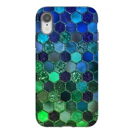iPhone Xr  Green and Blue Metalic Honeycomb Pattern by Utart