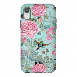iPhone Xr  Vintage Roses and Hummingbirds by Utart