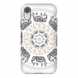 iPhone Xr  Elephant mandala white by Laura Grant
