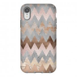 iPhone Xr  Rose Gold Marble Chevron by Utart