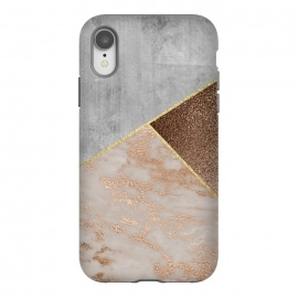 iPhone Xr  ROse Gold Copper and Concrete Triangles Pattern by Utart