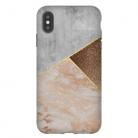 ROse Gold Copper and Concrete Triangles Pattern by Utart