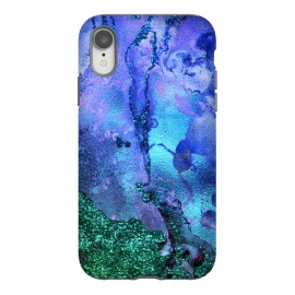 iPhone Xr  Blue and Green Glitter Marble by Utart