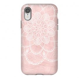 White Mandala on Pink Faux Marble by Utart