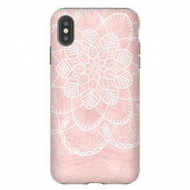 iPhone Xs Max  White Mandala on Pink Faux Marble by