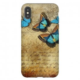 iPhone Xs Max  Blue Butterfly Vintage Collage by Andrea Haase