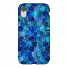 iPhone Xr  Blue Metal Honeycomb pattern by Utart