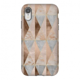 iPhone Xr  Modern Marble Geode Copper Triangle Argyle by Utart