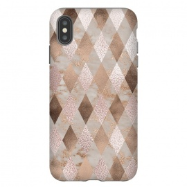 iPhone Xs Max  Abstract Trendy Copper Concrete Argyle Pattern by Utart