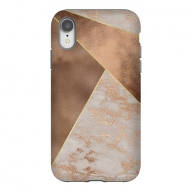 iPhone Xr  Modern minimalistic Copper Marble Triangles  by Utart