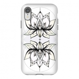 iPhone Xr  Lotus Flower by Barlena (Lotus, Asia, Flower, Floral, Drawing, Illustration, Dots, Zen, Hindu, Symbol, Meditation, Nature, Blossom, Feminine, Pastel, Geometric)