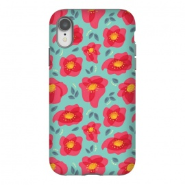 iPhone Xr  Pretty Flowers With Bright Pink Petals On Blue by Boriana Giormova