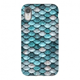 iPhone Xr  Silver and Blue Metal Glitter Mermaid Scales by Utart