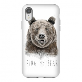 iPhone Xr  Ring my bear by Balazs Solti (bear,animal,humor,funny,typography,text,drawing)