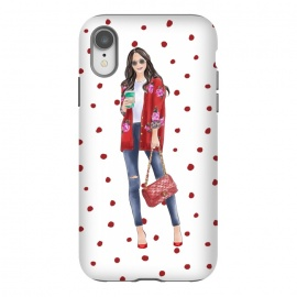 iPhone Xr  Coffee City Girl with Red Polka Dots by DaDo ART