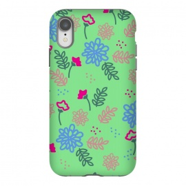iPhone Xr  blue pink floral pattern by MALLIKA