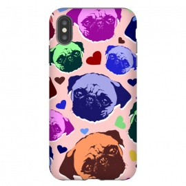 iPhone Xs Max  Pug Puppy Dog Love Hearts Pattern  by