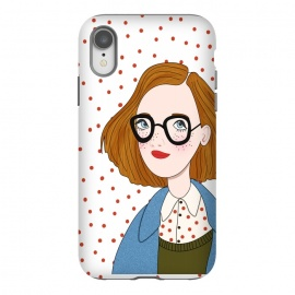 iPhone Xr  Trendy Fashion Girl with Red Polka Dots by DaDo ART