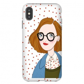 Trendy Fashion Girl with Red Polka Dots by DaDo ART