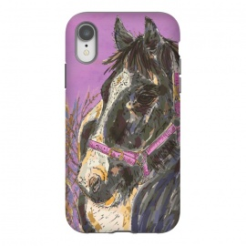 iPhone Xr  Black and White Horse by Lotti Brown