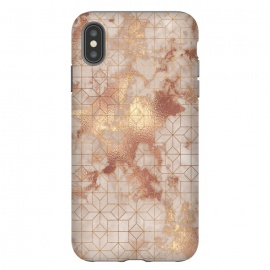 Simply Minimalistic  Rose Gold Shapes Marble Pattern by Utart