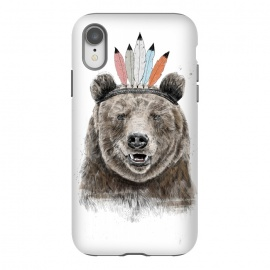 iPhone Xr  Festival bear by Balazs Solti (bear,animal,feathers,headdress,humor,funny,drawing,summer,spring,festival)