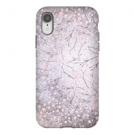 iPhone Xr  Purple Gray Metal Shiny Cherry Blossom Pattern by