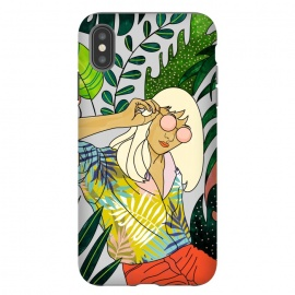 iPhone Xs Max  Spring Break by Uma Prabhakar Gokhale (graphic design, watercolor, tropical, nature, leaves, travel, woman, girl, sunglasses, sunny, in the sun, vacation, line art, blonde, fashion, beauty)