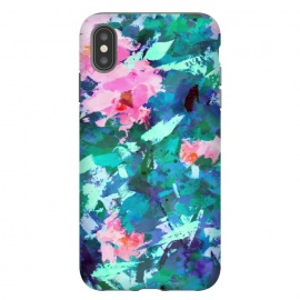 iPhone Xs Max  Blossomed Garden by Uma Prabhakar Gokhale (acrylic, floral, nature, blossom, flowers, bloom, pink, green, blue, abstract, garden, foliage, botanical, leaves, modern art)