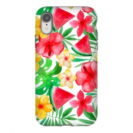 iPhone Xr  Aloha Tropical Hibiscus and Melon Pattern by Utart
