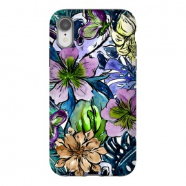 iPhone Xr  Purple Aloha Hibiscus Tropical Flower Pattern by Utart