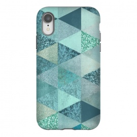 iPhone Xr  Fancy Shimmering Teal Triangles by Andrea Haase