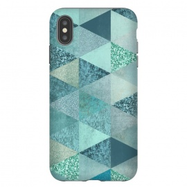 iPhone Xs Max  Fancy Shimmering Teal Triangles by